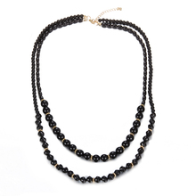 W-AOE Fashion Jewelry Black Long Beads Necklace For Women Girl 2017 New Double Layer Multilayer Sweater Chain Necklaces