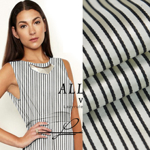 Heavy 100% pure silk satin fabric Black gray and white striped design 28momme 114cm,SSC073