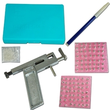 Free Shipping NEW Professional Ear Nose Navel Body PIERCING GUN Tool Kit set jewelry 98 studs tattoo accesories(China)