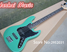 Hot Sale Custom 4-String Bass Guitar with Blue Color,Black Pickguard,Rosewood Fretboard,2 Open Pickups,can be Customized
