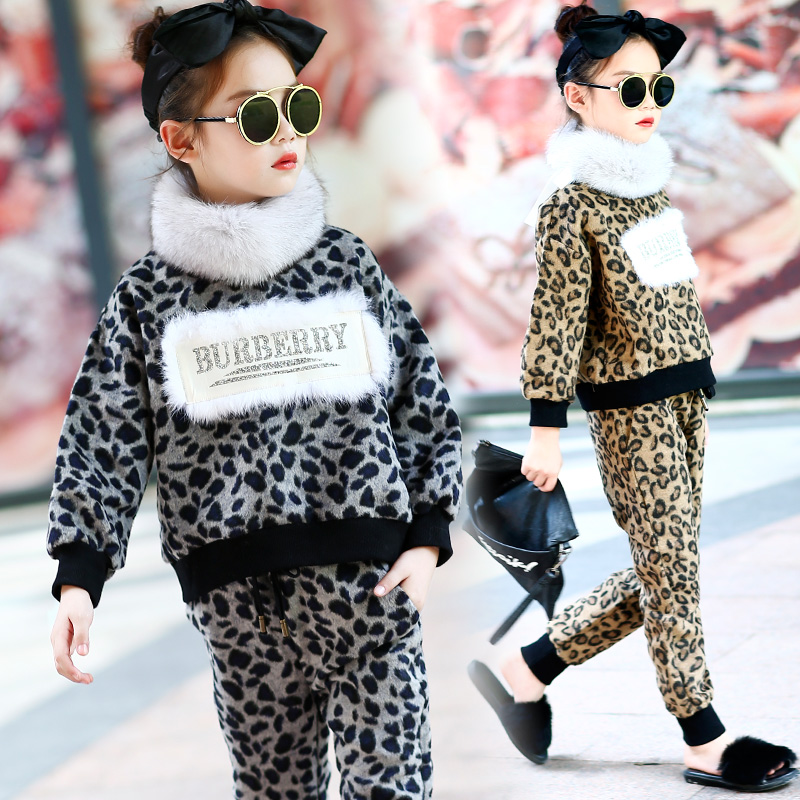 Western style suit 2017 new girls winter fur collar sweater thickened leopard shirt+trousers children fashion trend 2 Pcs/1 Lot<br>