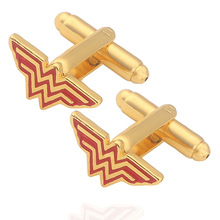 Gold Color Superhero Movie Jewelry Wonder Woman Cufflinks High Quality Red Enamel Cuff Bottons