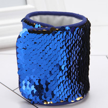 2017 Fashion Custom Personalized Mermaid Sequin Bracelet Wristband Cuff Sequins Bracelets for Women Charm Jewelry Drop Shipping(China)