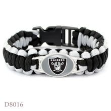 Oakland raiders super bowl championship Rugby team The umbrella rope Bracelet weaving outdoor Men Fan Gift Wholesale