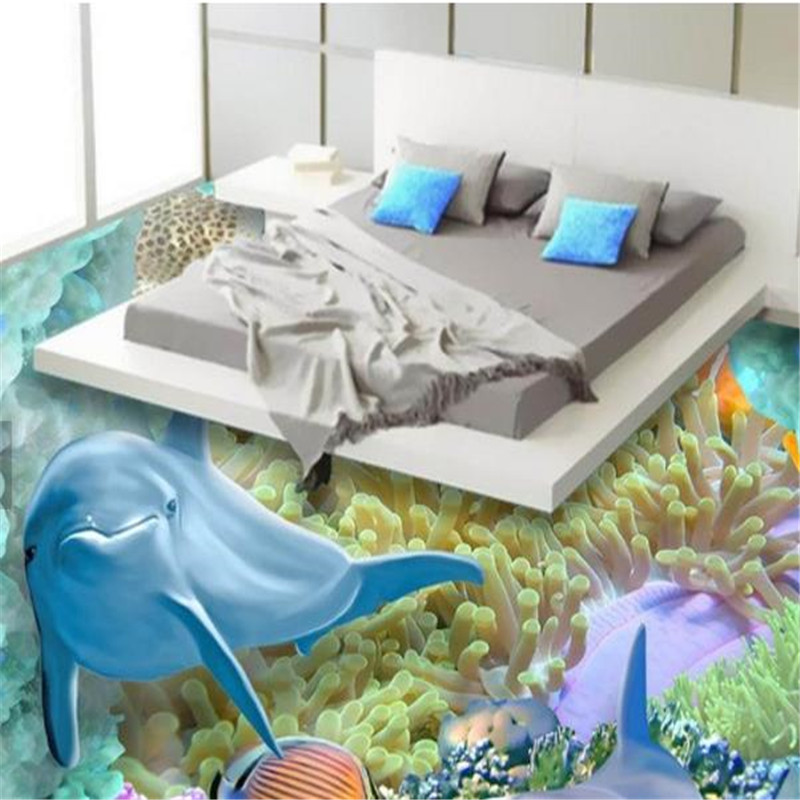 Custom Photo 3D Stereoscopic Floor Wallpapers Dolphin Coral Ocean Bathroom Murals Wallpapers 3D Floor Wallpapers for Living Room<br>