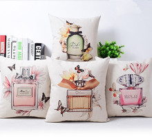 Decorative throw pillow cover case  Perfume bottles cotton linen seat waist cushion cover for sofa home decor capa de almofadas