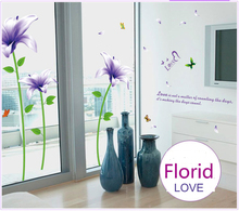 Hot Super Big Purple Lily Flowers Wall Stickers Home Wall Pictures Beautiful Lilium Brownii Flower Glass Mirror Armoire Decor_23(China)