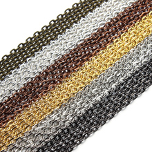 10m/lot Rhodium/Silver/Gold/Gunmetal/Antique Bronze Color Necklace Chains Brass Bulk for DIY Jewelry Making Materials F712(China)