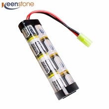 9.6V 1600mAh NiMH Airsoft Battery Pack with Mini Tamiya Connector with 16G wire Fit Most Airsoft Guns Mini AK series G36C M4(China)