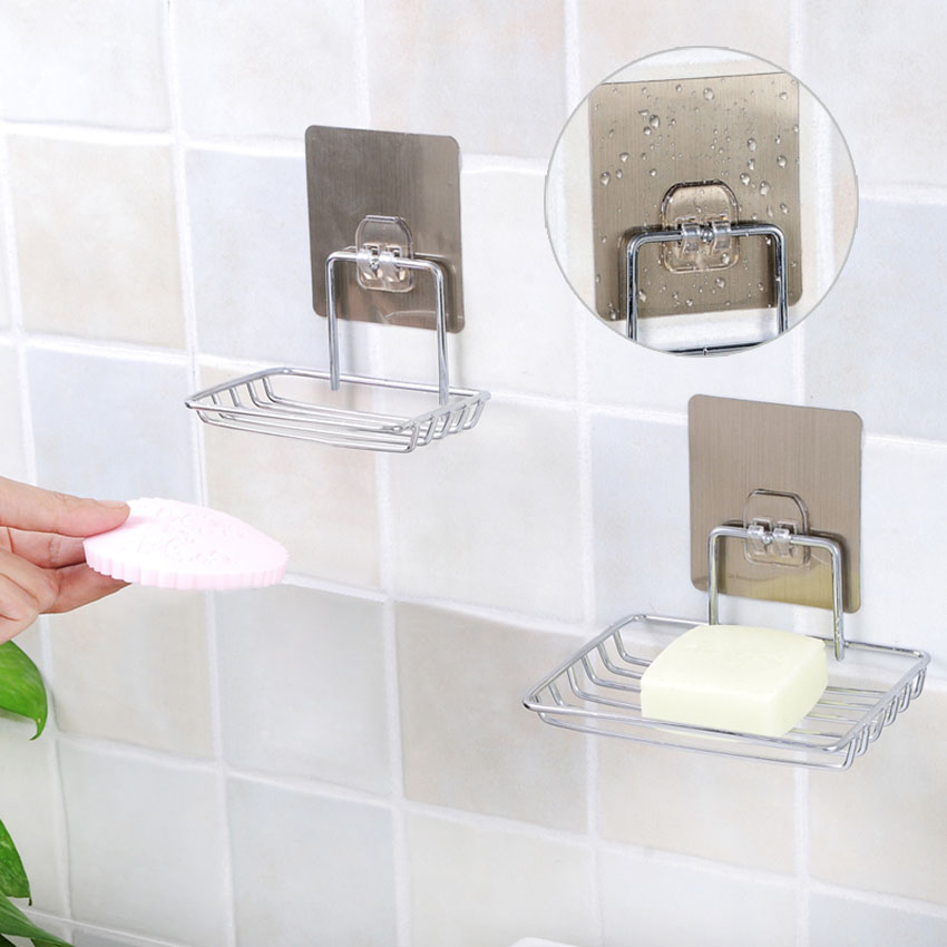 Wall Suction Cup Bathroom Bath Shower Container Soap Dishes Holder Case Basket