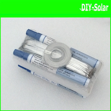 DIY solar cells panel soldering 100m Tabbing Wire+10m Busbar Wire+4pcs flux pen interconnect solar cell soldering wire PV Ribbon(China)