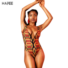 African swimwear Retro National Printed Swimwear golden halter one piece swimsuit women bathing suit cropped feminino monokini