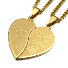Gold Tone Men Women His Her Couples Heart Symbol Love Lock & Key Pendant Necklace W/ Curb Chain 60cm