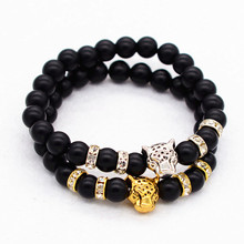 2017 Factory Wholesale Premier Jewelry micro cz metal Animal leopard Charm onyx matte Beads Fashion New Design Black lava(China)