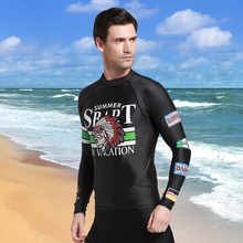 SBART Stretchy Novel Print Diving Suit for Men Wetsuits Tops T Shirts Long Sleeves Surfing Rash Guards Dive Equipment CO(China)