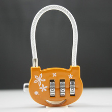 Mini 3 digital Combination Padlock Backpack Password padLock Steel Wire rope Combination Lock 1 Pc(China)