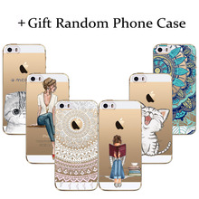 Buy 1 get 2 Phone Cases For iPhone 5c Cute Cat beauty girl Floral Paisley Clear Soft Silicon Coque Capa (gift Random Phone case)(China)