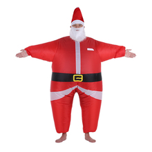 Funny Christmas Inflatable Santa Claus Costume Jumpsuit Air Fan Operated Blow Up Suit Christmas Party Funny Inflatable Outfit
