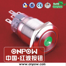 ONPOW 19mm metal latching dot illuminated pushbutton switch anti-vandal LAS1-AGQ-11ZD/G/12V/S