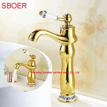 Charming Luxury Retail Wholesale Two types gold faucet Bathroom Basin vessel sink Sprout Mixer Tap Hot and Cold badkamer kraan(China)