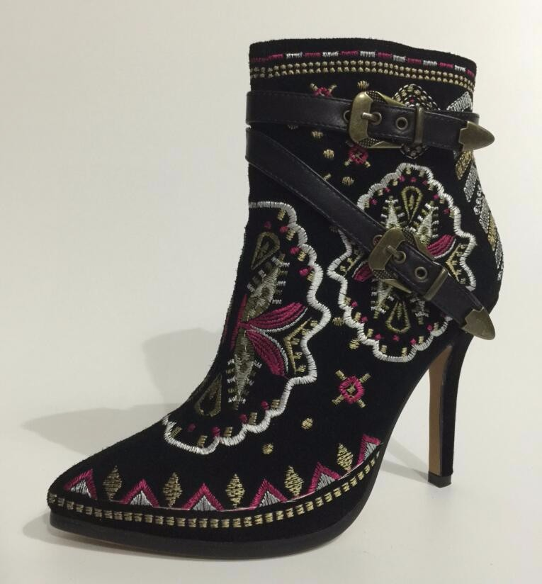 BONJOMARISA Retro Ethnic Embroidery Spring Autumn Shoes Woman High Heels Ankle Boots Sexy Fashion Buckles Lady Footwear