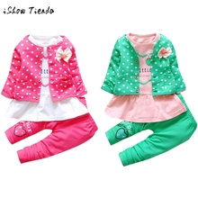 Kids Baby Girls Outfit Clothes Dot Printing Bowknot Cardigan Coat+long sleeve T-shirt+Long Pants 3pcs Set O-Collar costume wears(China)