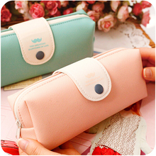 Fresh Solid Candy Color Mustache Pattern PU Leather Pencil Holder Pen Bag FOD(China)
