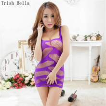 Buy Trish Bella 2018 new Pure color transparent Camisole Hollow Net clothing body sexy costumes bodystocking catsuit open crotch
