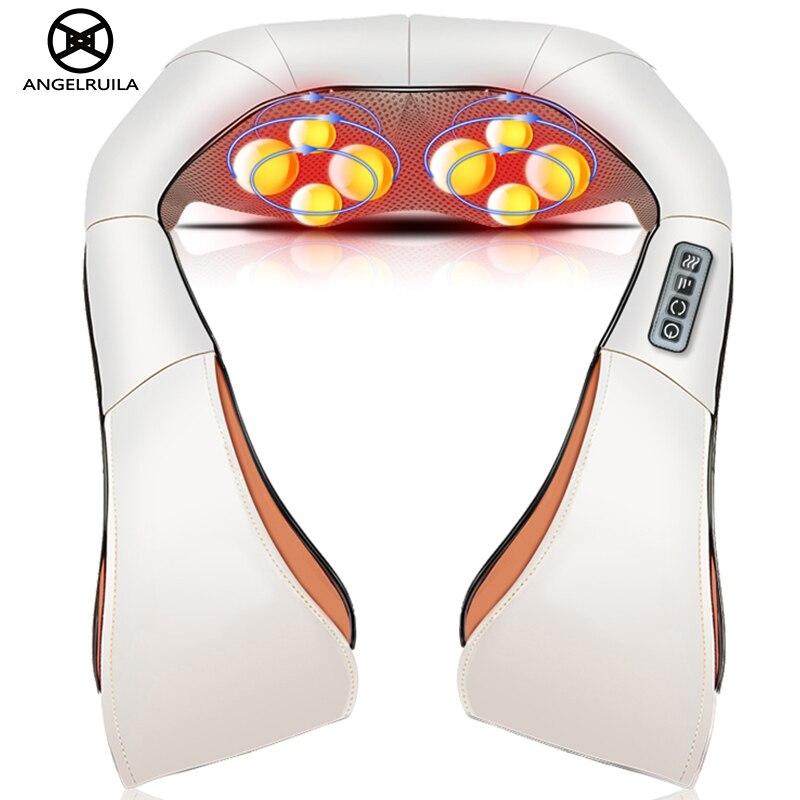 Angekruila Car/Home Neck Massager Electrical Shiatsu Shoulder Leg Body Massage Infrared 3D Kneading U Shape Massagem EU Plug<br>