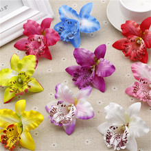 5pcs Silk Butterfly Orchid Artificial Flower Wedding decoration Head For Wedding Car Home Decoration Cymbidium Flowers Plants(China)