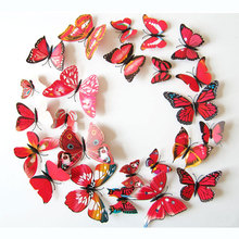 Morden 3D Butterfly Wall Stickers DIY Home Decor Stickers for Curtain Decoration Adesivo de Parede Plastic Posters 12pcs Pack(China)