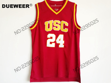 DUEWEER Mens Throwback Brian Scalabrine Basketball Jersey #24 Brian Scalabrine USC Trojans College Jerseys Cheap Retro Shirts(China)