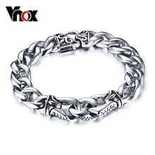 Vnox Mens Bracelet Wrist Chunky Curb Chain Bracelets Pulseiras masculinas 316L Stainless Steel Jewelry Gift(China)