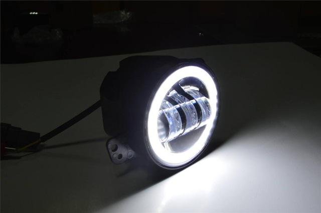 FADUIES 2PCS DOT 4Inch Round Wrangler Led Fog Light 30W 6000K White Halo Ring DRL Off Road Fog Lamps For Jeep Wrangler JK TJ LJ (1)