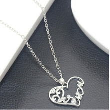 Silver Plated Personality Loving Heart With Capital MOM Pendant Necklace Bijoux Collars Jewelry One Direction Mother's Day Gift