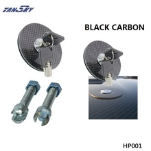 TANSKY -(BLACK CARBON Fiber  ) Flush Mount Hood Lock w/ Key Variable Mount  For Ford Mustang 05-10 V8 ZAP  TK-HP001