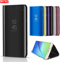 Mirror Flip Stand Smart View Case For Xiaomi Mix 2 5C A1 Cover For Xiaomi Redmi 7 Pro Note 4X Note4 Note 5 6 3 5a 5 Plus Fundas(China)