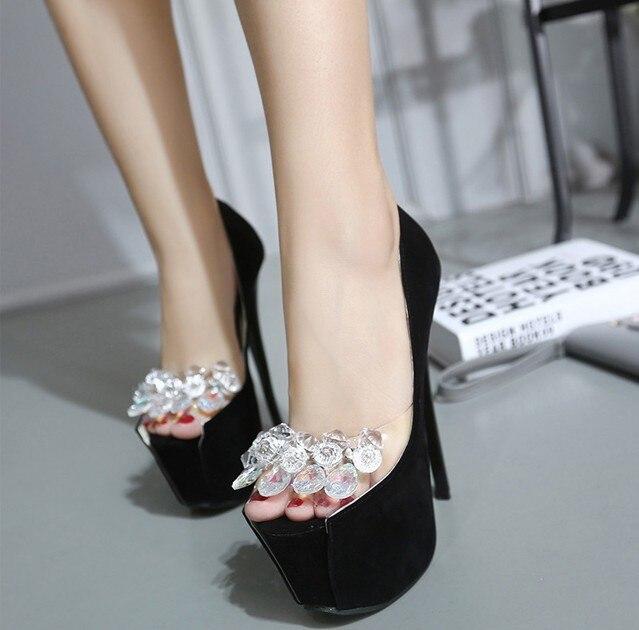 Fashion Women High Heels Crystal Fashion Bridal Shoes Woman Platforms White Rhinestone Party Prom pump Bridesmaid Shoes Pumps<br>
