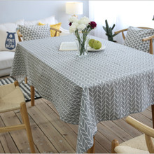 JUYANG. Light gray linen tablecloth. Simple geometric pattern of rectangular tablecloth. A variety of sizes.
