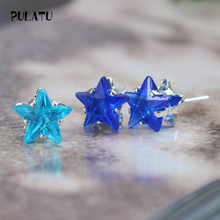 9 Color Hot Sale Star Earring For Girl 8mm Crystal Stud Earrings Geometric Rhinestone Minimalist Women Jewelry PULATU XX888(China)