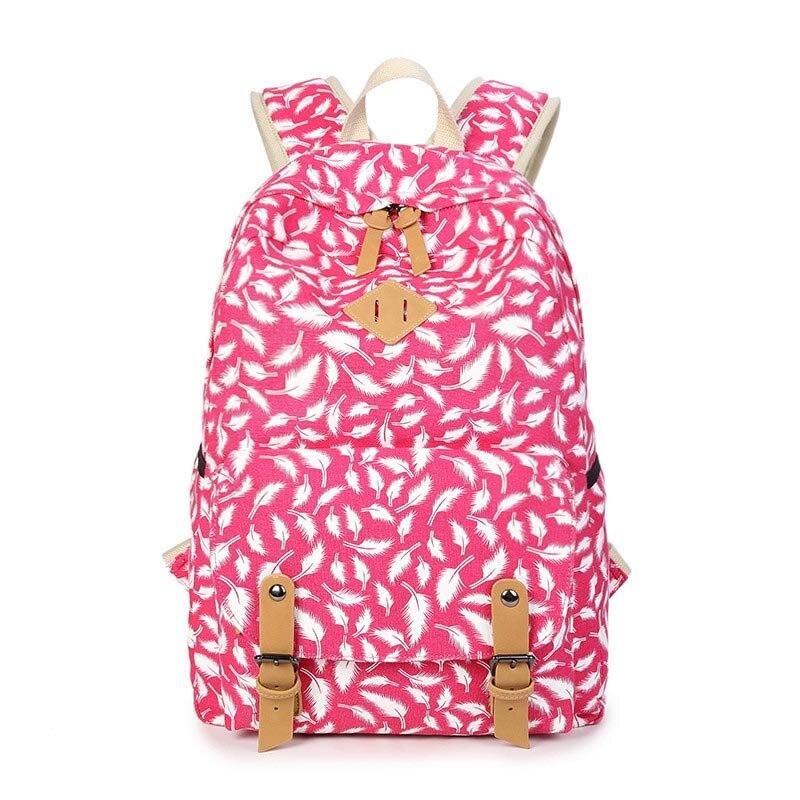 Youth Backpacks For Teen Girls Feathers and Dots Canvas Backpack Feminine Backpack Female School Bagpack Girl Mochila Femininal<br><br>Aliexpress