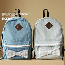 Kawaii Ladies Lace Jeans Backpack Bag Schoolbag Tote Campus Bow Travel Backpacks