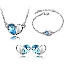 New Fashion 3ps womens Heart jewellery set of blue wedding jewerly sets for women african Female fine Jewelry set