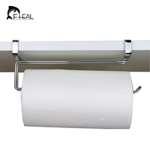FHEAL Stainless Steel Kitchen Roll Paper Holder Bathroom Towel Organize Hanging Rack Wardrobe Cupboard Door Storage Hook Holder