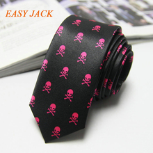 Men Black Red Purple Neck Tie Skull Classical Slim Skinny Narrow Ties Imitation Silk Wedding Party Business Artificial Silk Ties