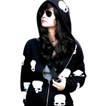 2017 New Product Women's Skull Zipper Sweater Hooded Cardigan Casual Hoodies Jacket Coat Tops Black White(China)