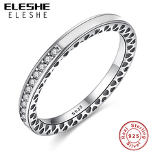 Luxury 100% 925 Sterling Silver Rings Finger Radiant Hearts Of Silver White Enamel & Clear CZ Rings for Women Wedding Jewelry