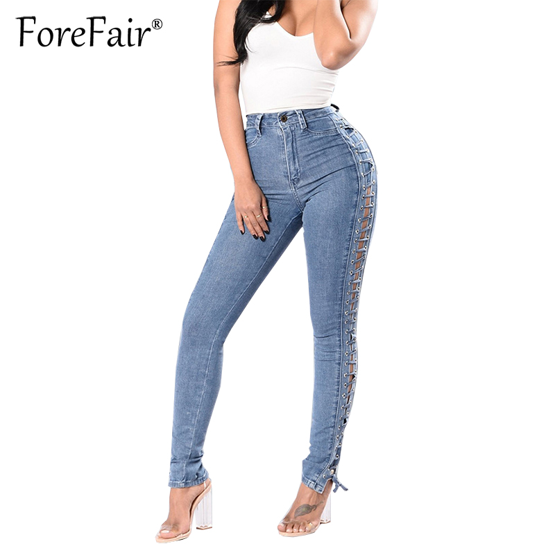 Forefair Fashion Side Lace-Up Jean Plus Size Women Slim Cool Stretchy Pencil Denim Pants Trousers Mid Waist Casual Elastic JeansÎäåæäà è àêñåññóàðû<br><br>