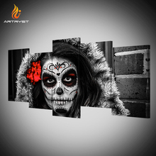 Artryst brand Day of the dead woman portrait picture for the living room wall 5 canvas art painting with frame deco painting(China)