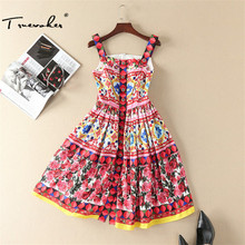 Truevoker Summer Designer Dress Women's High Quality Cute Fancy Flower Printed Crystal Button Boutique Spaghetti Strap Dress